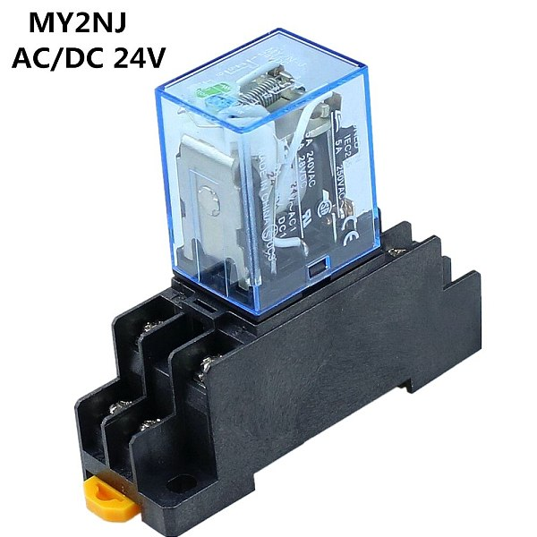 8 Pin MY2NJ Relay 24 V DC Small Relay 5A DPDT Coil With Base Socket -Y103