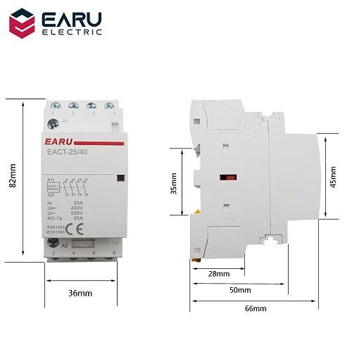 4P 16-25A AC 220V 230V 50/60Hz Din Rail Household AC Modular Contactor Switch Controller 4NO 4NC 2NO 2NC Smart Home House Hotel
