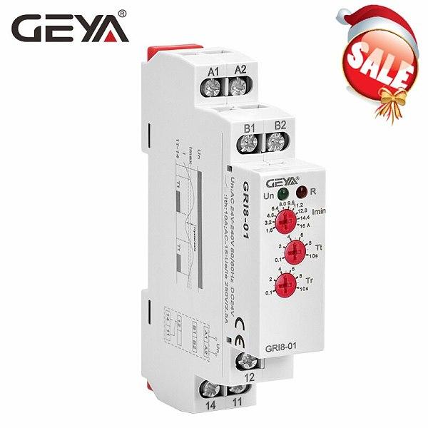 GEYA GRI8-01 Current Monitoring Relay Current Range 8A 16A AC24V-240V DC24V Overcurrent Protection Relay