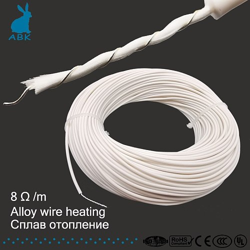 8 ohm/meter silicone rubber alloy spiral heating wire heating cable electro-thermal wire soft  wram multipurpose heating cable