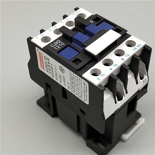3 Phase Motor Magnetic Contactor Relay 12A 3P 3 Pole 1NO AC 24V 110V 220 Volts 380V Coil CJX2-1210 35mm Din Rail Mounting