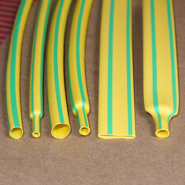 5M/Lot Yellow & Green - 2MM 4MM 6MM 8MM 10MM 12MM Assortment Ratio 2:1 Polyolefin Heat Shrink Tube Tubing Sleeving Cable Sleeves
