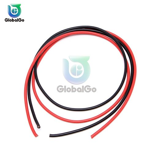 2pcs 16AWG Silicon Wire Heatproof Soft Silicone Silica Gel Wire Cable 1 Meter Black +1 Meter Red
