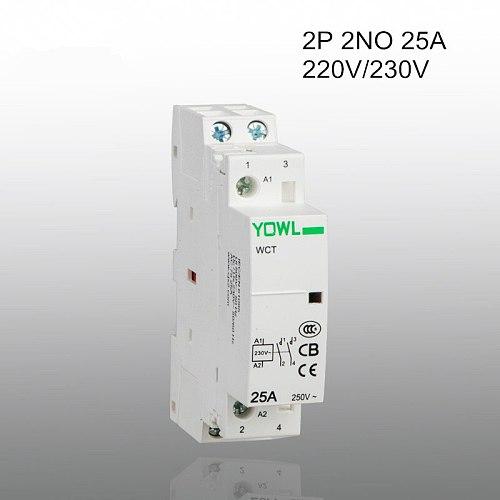 2P 25A CT1 220V/230V 50/60HZ 35mm Din rail Household ac contactor 2NO
