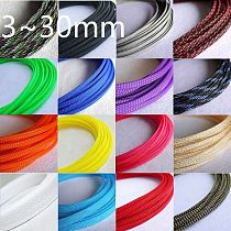PET Expandable Cable Sleeve 2mm ~ 30mm Tight Braided High Density Hardness Insulate Line Protect Wire Wrap Gland Sheath Colorful