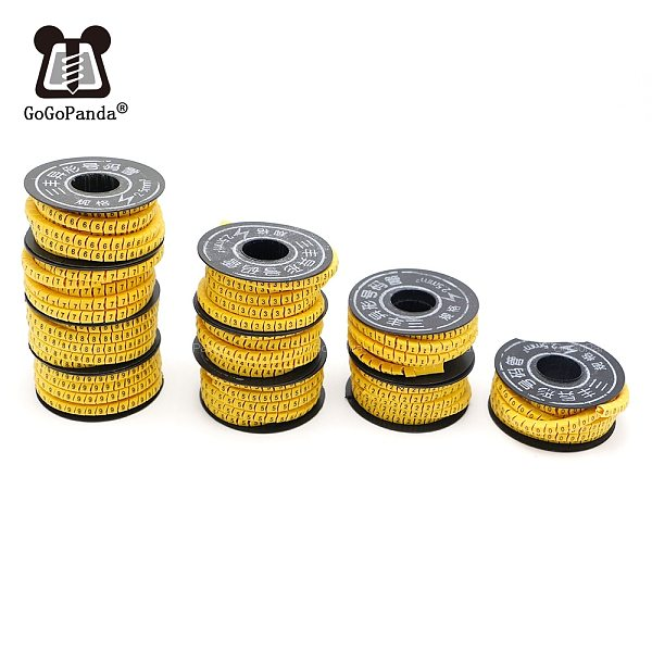 Free Shipping 10 Rolls/Lot 1.5/2.5/4/6/10mm Square Wire Cable Marker Cable Sleeve PVC Number 0-9 Letters A-Z