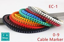 500PCS EC-1 Size 2.5 sqmm Colored Cable Wire Marker 0 to 9 For Cable