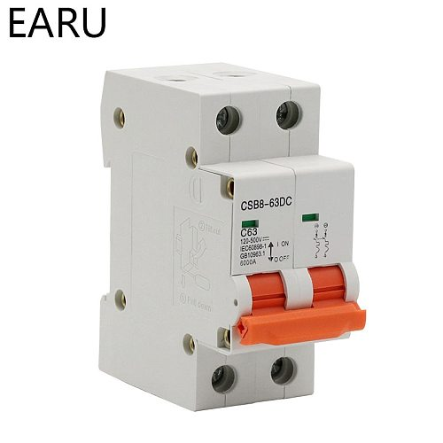 2P DC 500V Solar Mini Circuit Breaker MCB Direct-current Fuse PV System Solar Engery 1/3/6/10/16/20/25/32/40/50/63A Protector