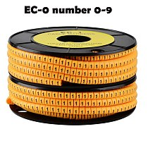 1000PCS yellow 0-9 Free shipping EC-0 Cable Wire Marker Number 0 to 9 For Cable Size 1.5 sqmm PVC material