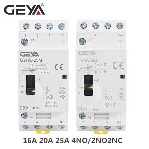 GEYA GYHC 4P 16A 20A 25A 4NO OR 2NO2NC 220V/230V 50/60HZ Din rail Household AC Modular Contactor