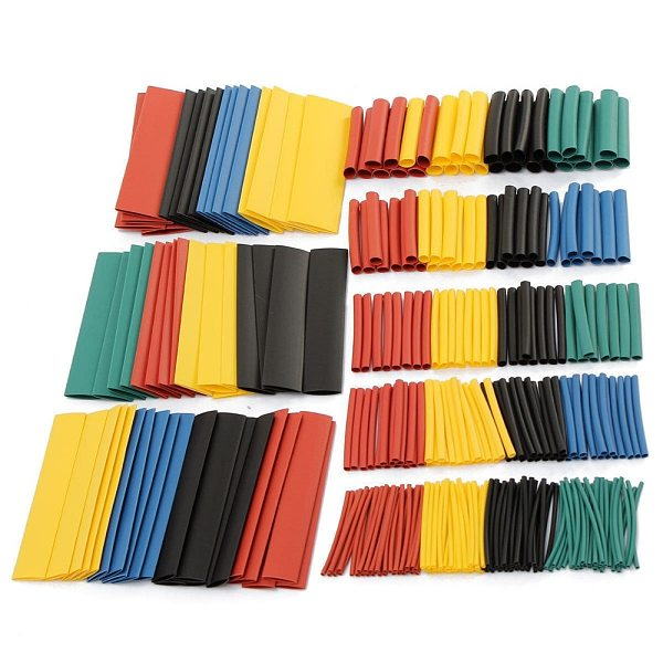 328 pcs/set  2:1 Polyolefin Heat Shrink Tubing Tube Sleeve Wrap Wire Assortment 8 Size PE Heat Black Tube Car Cable Pouch Assort