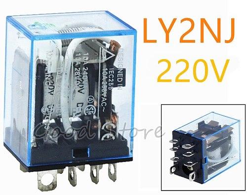 1PCS LY2NJ 220V AC DC  Coil 10A 240V Power Relay DPDT Led Lamp New