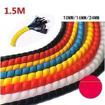 1.5M Spiral Wrapping Bands Flame Retardant Colorful Spiral Bands  Cable Casing Cable Sleeves Winding Pipe 10mm/16mm/24mm