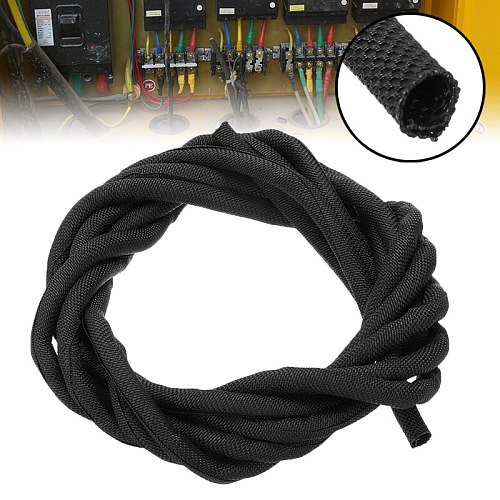 Black Wrap Braided Cable Sleeve 5mm*300cm General Wire Pipe Hose Indoor Wiring Protection Flexible Nylon Sleeve Mayitr