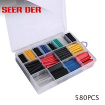 580pcs Heat Shrink Tube Wire Cable Insulated Sleeving Tubing Set Assortment Electronic Polyolefin Wire Cable Sleeve Kit