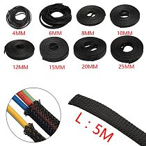 5M 4/6/8/10/12/15/20/25/30mm Black Insulation Braided Sleeving Tight PET Expandable Cable Sleeve Wire Gland Cables Protection