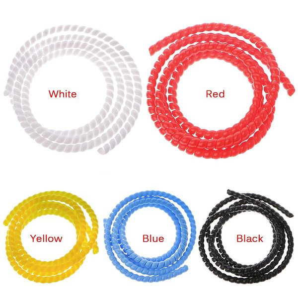 1m  Spiral Wire Organizer Wrap Tube Flame Retardant Cable Sleeve Colorful Cable Casing Cable Sleeves Winding Pipe 10mm/14mm
