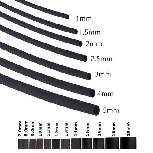 2:1 Black 1 2 3 5 6 8 10mm Diameter Heat Shrink Heatshrink Tubing Tube Sleeving Wrap Wire Sell DIY Connector Repair
