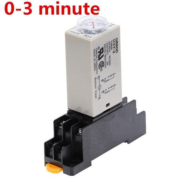 1pcs H3Y-2 DC 12V 24V /AC 110V 220V Delay Timer Time Relay 0 - 3 Minute with Base 5A