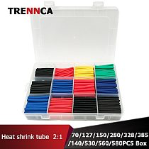 560Pcs Set Multicolor Polyolefin Shrinking Assorted Termoretractil Heat Shrink Tube Wire Cable Insulated Sleeving Tubing Set 2:1