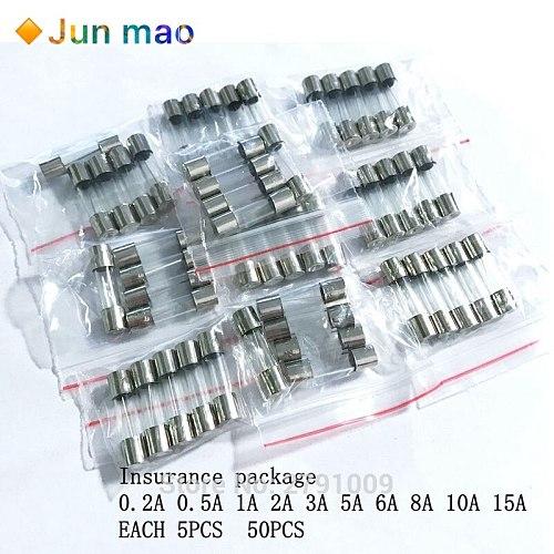50PCS/LOT 10 Kinds 5x20mm Fast Glass Fuse Kit In Package 0.2A 0.5A 1A 2A 3A 5A 6A 8A 10A 15A /250V 5*20 Insurance Tube Package