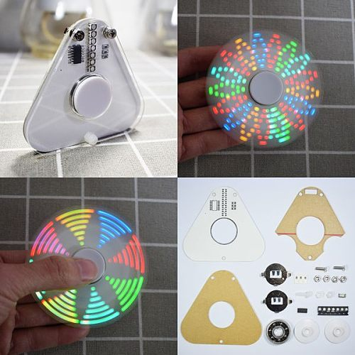 Geekcreit? DIY Round Triangle LED POV Rotation Hand Spinner SMD Learning Kit