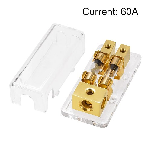 uxcell 4/8 AWG Gauge AGU 1 in 2 Fuse Holder Distribution Block with 60A AGU Fuses for Car Truck or Offroad 12V Application
