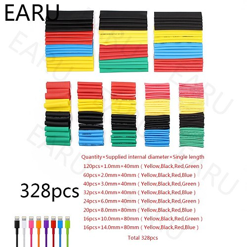 20/55/127/150/280/328Pcs Assorted Polyolefin Heat Shrink Tubing Tube Car Cable Sleeves Wrap Wire Set Kits Box 8 Size Mixed Color
