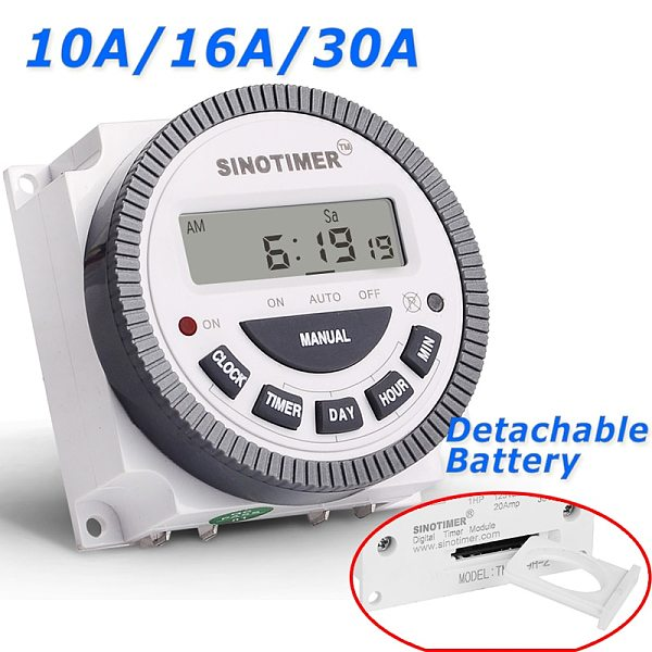 TM-619H-2 30A 230V AC 7 Days Weekly Programmable Time Relay Digital Timer Switch Output 220V Voltage Detachable Battery Type