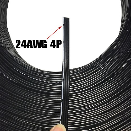 2M 24AWG Special Soft Silicone Cable 4Pin Black Plus White Note Strip Silicone Wire -60C 200C 4Core 0.2 Square Cable
