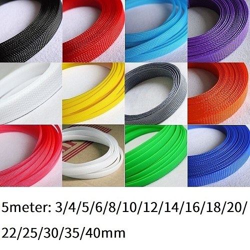 5M Cable Sleeve 3 4 5 6 8 10 12 14 16 18 20 22 25 30 35 40 mm PET Braided Expandable Wire Sleeving Wrap Insulation Nylon Sheath