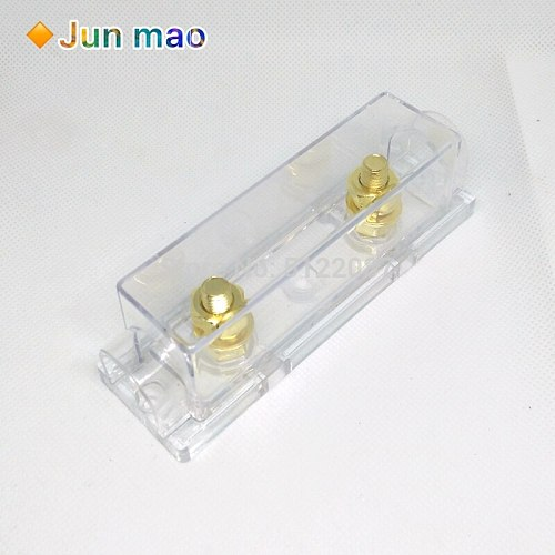 1p Transparent Gold Plating AMP ANL Fuse Holder(No Fuse) Distribution in line 0 4 8 GA Positive With Fork Bolt ANL Fuse Fusible
