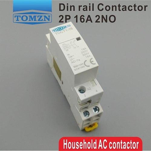 TOCT1 2P 16A 220V/230V 50/60HZ Din rail Household ac Modular contactor 2NO or 1NO 1NC