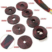 5/10M Insulation Red&Black Braided Sleeves 4/6/8/10/12/15/20/25mm Tight PET Expandable Cable Sleeve Wire Cable Protection