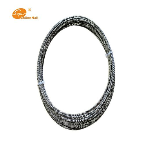 10m 1/2/3/4mm High Stainless Steel Wire Rope Tensile Diameter 7X7 Structure Cable Gray