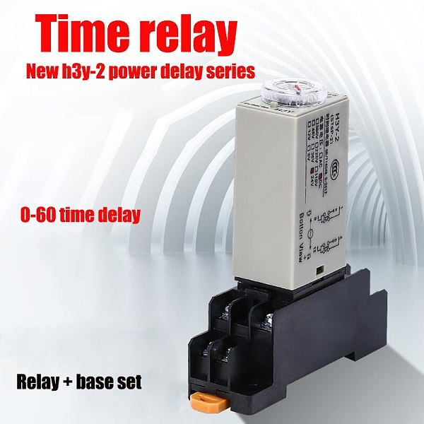 Delay electromagnetic relay ac power supply AC220V base 1PCS h3y-2 time relay 0-30 mins/SEC