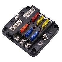 12V 24V Plastic Cover Fuse Box Holder With LED Indicator Light 6 Ways Blade Holder Block Case For Auto Car Boat Marine Trike