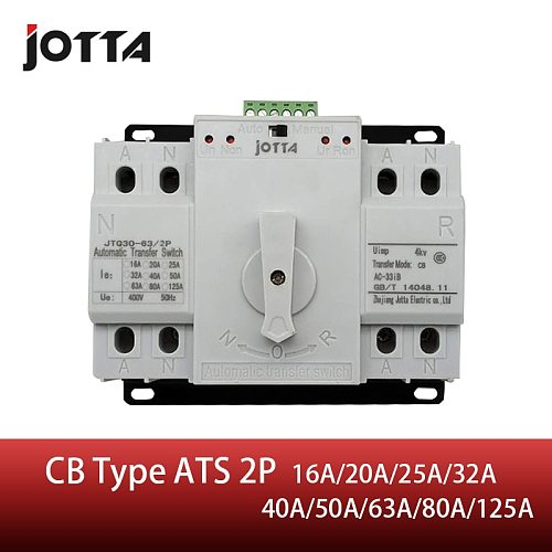 Jotta ATS 2P Dual Power Automatic Transfer Switch 2P Circuit Breaker MCB AC 230V 16A 20A 25A 32A 40A 50A 63A 80A 125A