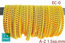 650pcs EC-0 1.5sq.mm A-Z ABCDEFGHIJKLMNOPQRSTUVWXYZ English Letter Flexible Print Sleeve Tube Label Network Wire Cable Marker