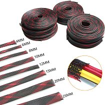5/10M Cable Braid Insulated Cable Sleeve Red&Black PET Expandable Braided Sleeving Cable Wire Protector 2/4/6/8/10/12/15/20/25mm