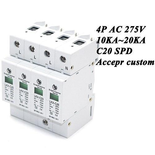 Hot sale C20-4P 10KA~20KA ~275V AC SPD House Surge Protector Protective Low-voltage Arrester Device 3P+N Lightning protection