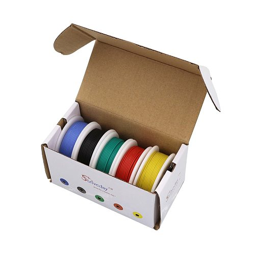 20AWG 30m flexible silicone wire 5 color mixing box 1 package wire and cable tinned copper wire stranding wire DIY