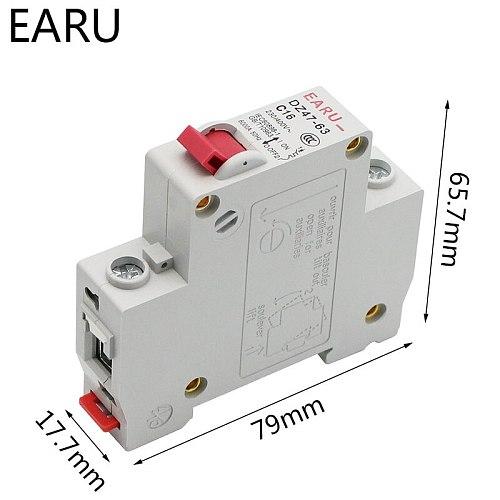 1P AC MCB DZ47-63 C Type 230/400V~ 50HZ/60HZ Mini Circuit Breaker 3A 6A 10A 16A 20A 25A 32A 40A 50A 63A Mounting 35mm Din Rail