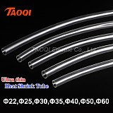 Free Shipping 1Meter 2:1 Clear Heat Shrink Tube transparent  22mm 25mm 30mm 35mm 40mm 50mm 60mm thin Heatshrink Tubing wrap