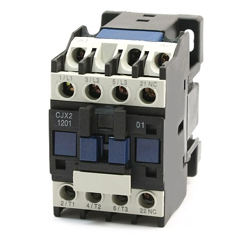 3 Phase Motor Magnetic Contactor Relay 12A 3P 3 Pole 1NC AC 24V 110V 220 Volts 400V Coil CJX2-1201 35mm Din Rail Mounting