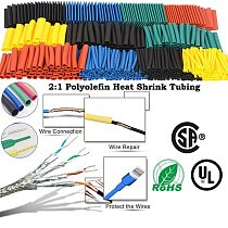 328PCS/lot Heat Shrinkable tubing termoretractil 2:1 PVC Shrink Cable Sleeving Wrap Wire Insulation Polyolefin Assortment Kit