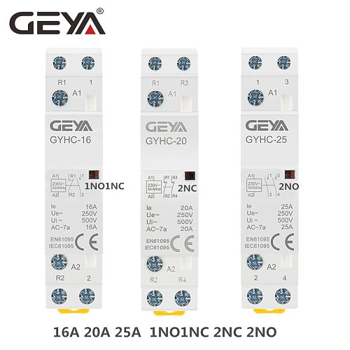 Din Rail Type AC Contactor 2P 16A  20A 25A 2NC 2NO 1NO1NC 50/60Hz Automatic Household Contactor