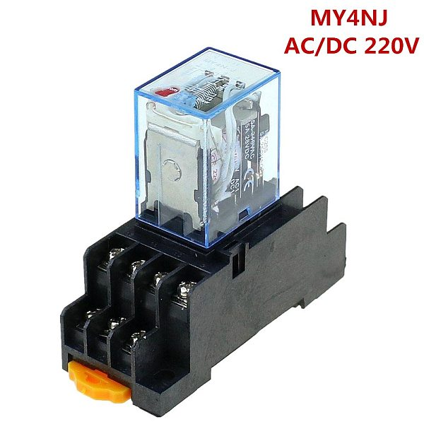 Time relay 220V / 240V AC Coil 4PDT Power Relay MY4NJ HH54P-L 14 Pin w PYF14A Socket Base