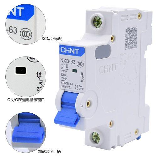 CHNT CHINT NXB-63 1P 1A 2A 3A 6A 10A 16A 20A 25A 32A 40A 63A 230V 220V 50HZ   Miniature Circuit breaker MCB NEW DZ47