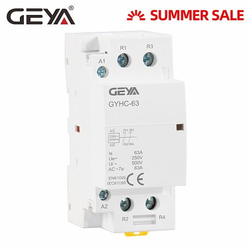 Free Shipping GEYA 2P 40A 63A 2NC or 2NO Household Modular AC Contactor DIN Rail Type AC220V 230V Automatic